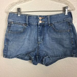 Old Navy Women Blue Distressed Mid-Rise Short